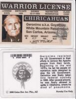 Indian Warrior GERONIMO Native American Indian Drivers License fake id card