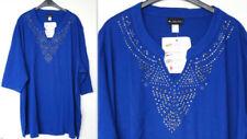 Camicia da donna blu con scollo a v
