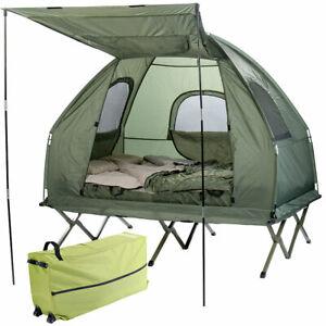 Semptec 4in1-Doppelzelt, Feldbett, 2 Winterschlafsäcke, Matratze, Sonnenschutz