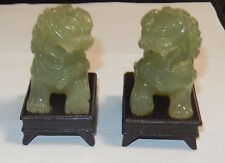 PAIR OF CHINESE CARVED FOO DOGS CELADON NEPHRITE JADE CARVED SCULPTURE ON STANDS