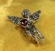Judith Jack 925 Sterling Silver Garnet Gemstone Angel Cherub Brooch Pin