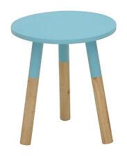 Moderne Design Tablett Beistelltisch blau mit teillakierten Beinen ø 35 cm