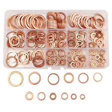 280Pcs Kit 12 Sizes Assorted Solid Copper Crush Washers Seal Flat Ring w/ Case