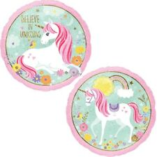 "PALLONCINO BELIEVE IN UNICORN 45 cm diam 18"" TONDO in MYLAR FESTA PARTY"