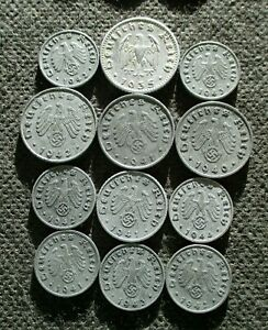 LOT OF TWELVE OLD COINS OF THIRD REICH GERMANY WORLD WAR II SWASTIKA - MIX 369