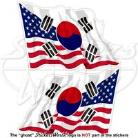 "USA United States America-SOUTH KOREA Flying Flag S.Korean 75mm (3"") x2 Stickers"
