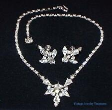 Vintage Art Deco Bogoff Clear Rhinestone Rhodium Necklace Earrings Set