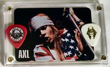 Axl Rose 1995 Portugal Calendar card #1 + 2 Guns n' Roses guitar pick display!!!