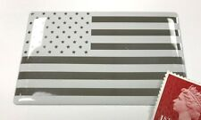 USA Stars & Stripes Flag White & Chrome Sticker Super Shiny Domed Finish 64mm