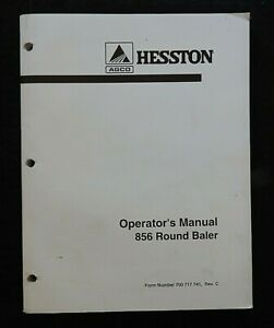 1999-2002 GENUINE HESSTON 856 ROUND BALE BALER BAILING OPERATORS MANUAL NICE