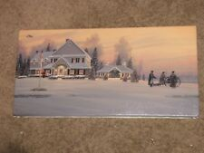 """WILLIAM S PHILLIPS """"Christmas Traditions at Watchman Hill Inn"""" 12""""x24"""" Canvas"""