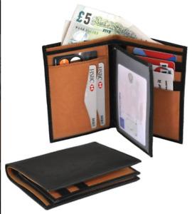 Ashford Ridge Real Leather 2 Tone Jacket Wallet in Black/Tan