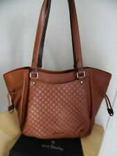 Vera Bradley Classic Mocha Carryall Leather Quilted Glenna Satchel Bag,  New