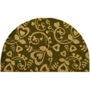 Imports Decor 504PVC Half Round Vinyl Back Coir Doormat Heart Swirls
