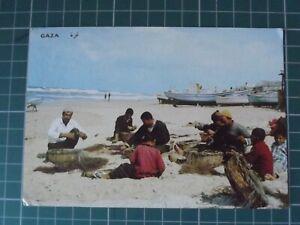 Gaza Fishermen Vintage Postcard Posted