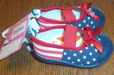 Sz 6 NEW Infant Girls Skidders Shoes Flag Red White Blue 18 Months