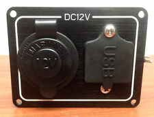 WEATHERPROOF MARINE CIGARETTE SOCKET PANEL WITH ONE USB DUAL PORT 12VDC