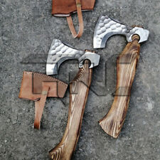 PAIR OF HANDMADE FORGED HIGH CARBON STEEL THROWING AXE HATCHET OUTDOOR CAMPING