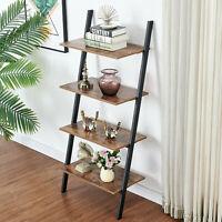 4-Tier Bookshelf Bookcase Metal Shelving Unit Ladder Holder Storage Organizer US