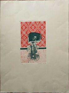 GIUSEPPE GUERRESCHI incisione 2 colori Figura in Verde 61x45 firmata anno 1970