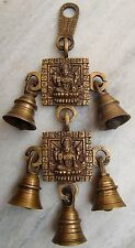 VINTAGE BRASS METAL GODDESS LAXMI ENGRAVED BELLS WALL HANGING HOME DECOR INDIA