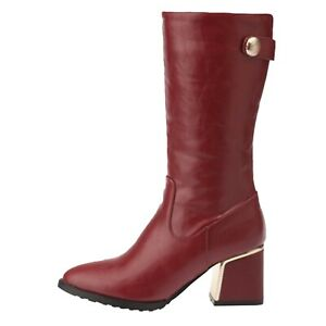 riding Boots womens Elegant Block Heel Booties Rounded Toe Ladies shoes Size 7