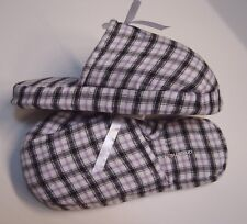 COTTON FLANNEL SLIPPERS HOUSE SHOES MULES CLOGS SLIP-ONS~M(7/8)L(8.5/9)WIDE~NEW