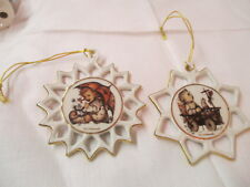 Vintage Germany Ars Mj Hummel 2 Ornaments Snowflakes