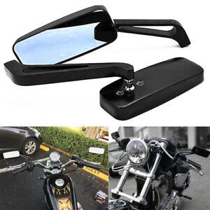 Black Rectangle Motorcycle Mirrors For Harley Davidson Chopper Bobber Cruiser US