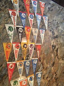 27 Vintage 1970's Era NFL Football Miniature Felt Team Pennants Flags