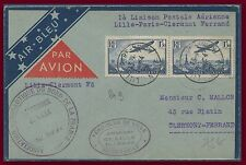 FRANCE Lettre 1er vol air bleu 1936 Lille Clermont PA 9 paire first flight cover