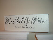 shabby vintage  chic personalised couples engagement wedding plaque sign