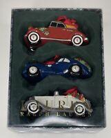 Ralph Lauren Classic Roadsters Set of 3 Cars Christmas Ornaments Ceramic in Box