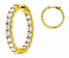 11.22 ct Round cut Diamond 14k Yellow Gold HOOP Earring 28 x 0.40 ct 1 inch