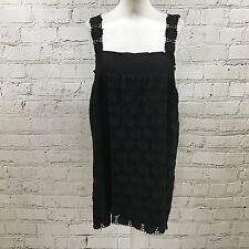 MIU MIU broderie anglaise noire droite longue haut robe taille UK 10 12 14 06485