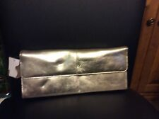 Silver evening clutch with strap