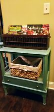 Vintage plantation shutter box magazine rack wooden storage with handles