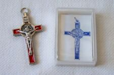 "Red MEDAL - CRUCIFIX of ST. BENEDICT 3"" Exorcism Cross Blessed By POPE FRANCIS"