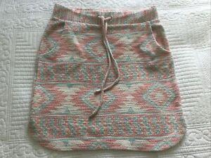 Fabulous Next Pink Cream Blue Aztec Short Skirt Size 8