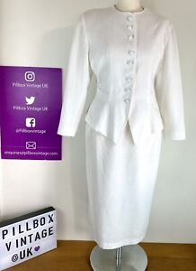 1980s Size 10 Yessica White 2 Piece Skirt Suit Co-ord Bow Back