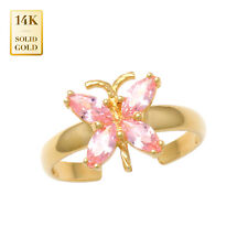Cubic Zirconia Toe Ring 14mm Inner 14K Real Solid Gold Marquise Cz Butterfly