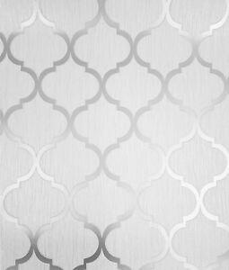 Debona White & Silver Crystal Trellis Geometric Glitter Wallpaper 8896