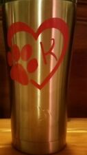 PAW HEART With Initial Vinyl Decal Sticker Window Wall Bumper  Dog Cat Love Pet