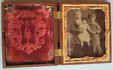 RARE ANTIQUE MINIATURE ?AMBRO/DAGUERREOTYPE? CHILDREN w/DOLL INTRICATE DESIGN