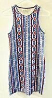 New Abercrombie Knit Sleeveless Dress Sz S Aztec Southwest Print Red/White/Blue