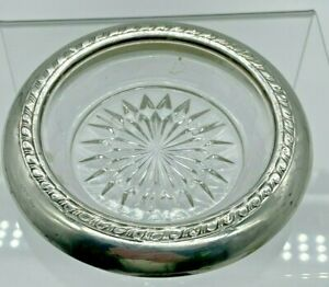 """Sterling Silver & Glass Coaster-Vintage-Antique -4 INCHES-AUCTION """"A"""""""