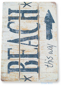 TIN SIGN Beach This Way Metal Décor House Cottage Kitchen Store Ranch Bar A237