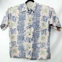 COOKE STREET MEN'S HAWAIIAN SHIRT Size XL Extra Large Honolulu Blue Wash Print