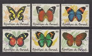 Burundi 1989 Used stamps BUTTERFLY Overprinted 80f - Cob 962 C/H - Scott 654 A/F