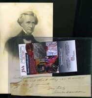 Simon Cameron Jsa Cert Signed Abraham Lincoln Secretary Of War